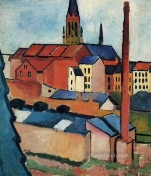 Houses With A Chimney August Macke Oil Paintings